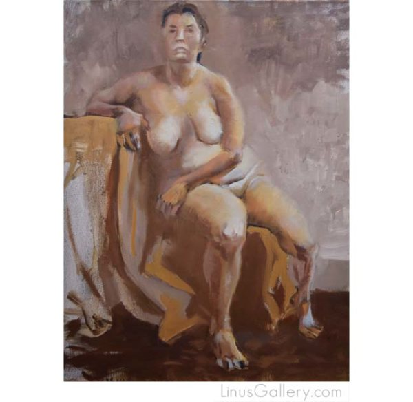 figurative art galleries la 600x584 Skin Deep Artist Victor Vaccaro | Seated Nude